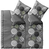 CelinaTex Touchme Biber Bettwäsche 155 x 220 cm 4teilig Baumwolle Bettbezug Ciara Punkte Streifen...
