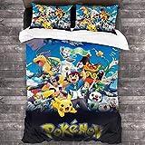 SK-PBB Pokemon Pikachu Bettwäscheset, weich und bequem, hochwertige Polyesterfaser, dreiteiliger...