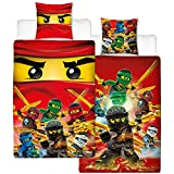 Lego Ninjago Kinder-Bettwäsche Fire Champion - 135x200 cm + 80x80 cm - 100% Baumwolle Linon - Cole...
