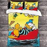 Donald Duck Bettwäsche-Set,Nettes Entenmuster Bettbezug,3-teiliges Set...