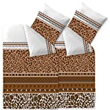 aqua-textil Trend Bettwäsche 135x200 cm 4tlg. Baumwolle Bettbezug Ebony Afrika Leopard Weiß Braun...