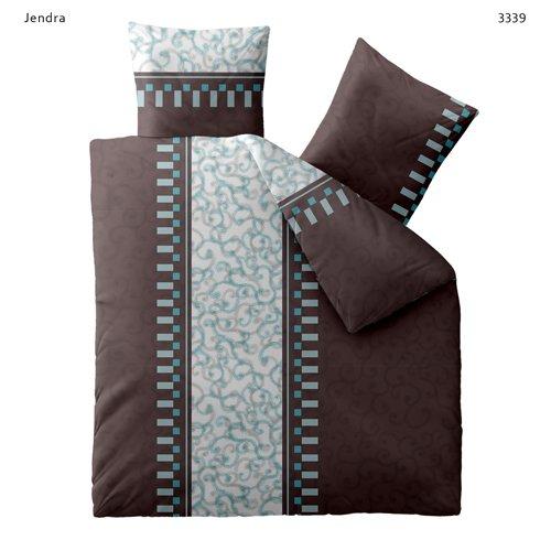 Bettwäsche 200x200 Baumwolle Mit Reißverschluss Fashion Jendra Braun