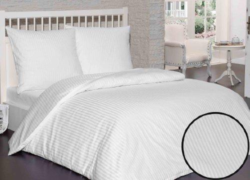 Damast Mako Satin Bettwäsche 3 Tlg 200x200 Cm Stripe Weiß Der