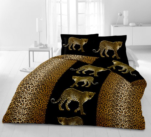 3 teilige microfaser bettw sche mit 1 x bettbezug x cm 2 x kissenbezug 80 x 80 cm leopard 200. Black Bedroom Furniture Sets. Home Design Ideas