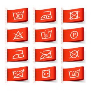Häufige Symbole auf Einnähetiketten